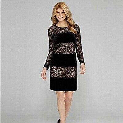 b340bd27639 Antonio Melani Size 2 Black Sheath Velvet and Lace Cocktail Dress NWT- 179  (H
