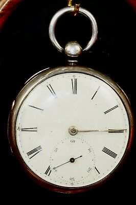 SILVER 1855 FUSSE  POCKET WATCH BY RAMSEY OR H MYERS NO HOUR HAND but WORKING W9