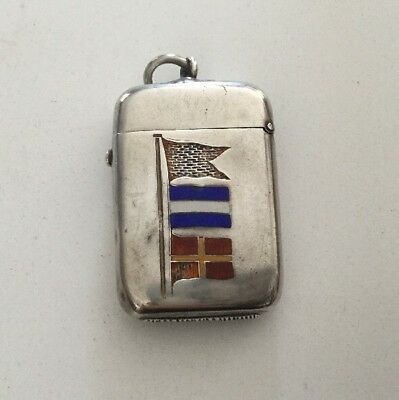 1885 S Benzie Cowes Sterling & Enamel Match Safe Vesta, Sailing Flags.