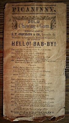 RARE Antique PICANINNY TOLU Chewing Gum Racist Song Lyric Sheet HELLO! BAB-BY!
