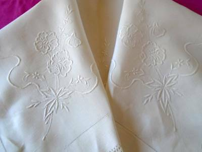 Beautiful Antique White Linen Tablecloth~Superb Whitework~Floral~Ribbons~ Bows