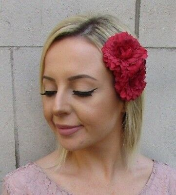 Red Double Dahlia Rose Flower Hair Clip Bridesmaid Fascinator Wedding Peony 5967