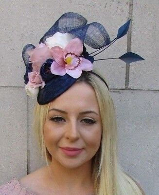 Navy Blue Nude Blush Light Pink Cream Flower Feather Hat Hair Fascinator 5972
