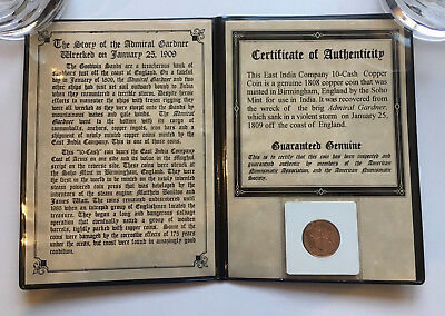 1808 East India Company 10-Cash Copper Coin from The Admiral Gardner with COA