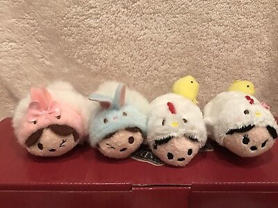 Disney Store JAPAN TSUM TSUM Rooster 2017 Mickey & Minnie and easter bunny pair