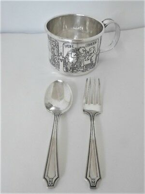 Antique Child's Sterling Silver Fork And Spoon Set And Cup, Total Wt. 126 Grams