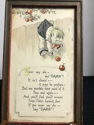 The Buzza Craftacres Old Framed Humorus Picture