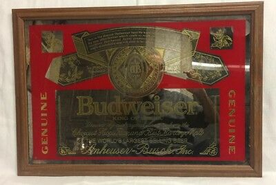Budweiser King of Beers Bar Barware Sign Mirror- Man Cave Made in the USA, 1998