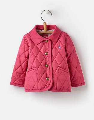 Joules 124739 Baby Girls Quilted Coat with Popper Fastening in Warm Pink