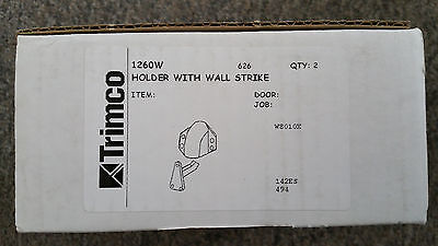 Trimco 1260W Holder with Wall Strike and Satin Chrome Finish - Lot of 2