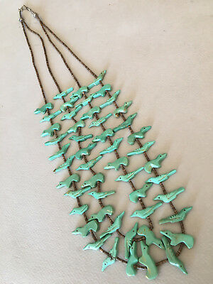 2 Strand ZUNI Green Turquoise Fetish Necklace w/ Brown Heishi (mostly birds)