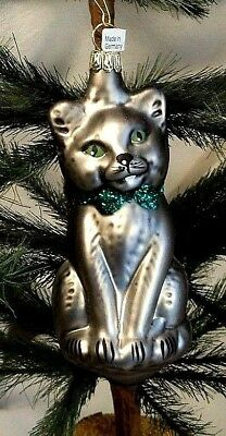 Cute Cat/Kitten/Kitty Gray w/Green  Blown Glass Christmas Tree Ornament  Germany