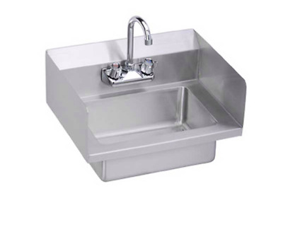 Elkay EHS-18-SS Wall Mount Commercial Hand Sink w/Side Splashes