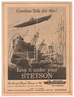 Original 1943 newspaper ad Under Your Stetson Hat Loose Lips Sink Ships WWII