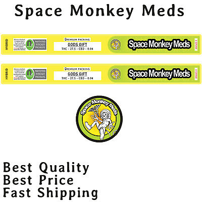 Gods Gift Space Monkey Meds Cali Tin Labels Weed 4Gram Stickers