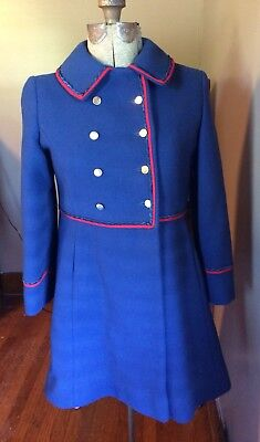Vintage Rothschild Wool Pea Coat Military Nautical Red Blue