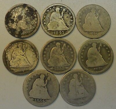 8 coin Lot of Seated Liberty Silver Quarters