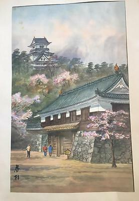 Vintage Asian Signed Painting on Silk Oriental Pagoda People Matted Old Antique