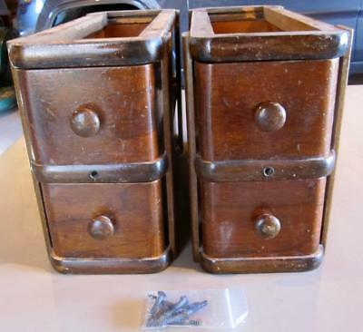 Vintage  Drawers & Frame From The 1920's Singer Treadle Cabinet 4 Drawers Oak