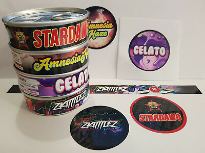 PRESS IN TIN'S & Cali Tin Labels Weed Stickers VARIOUS STRAINS *BEST QUALITY*