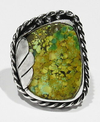 LARGE OLD Signed Chee Navajo 15.7g Green Spiderweb Turquoise 925 Silver Ring 10