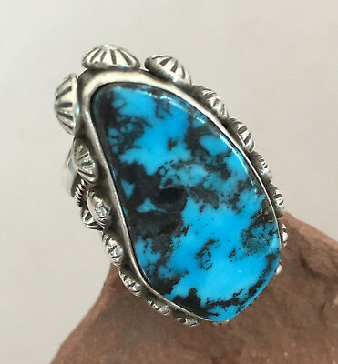 AMAZING Red Mountain Turquoise SSilver Ring by Etta Endito Navajo - 8.5