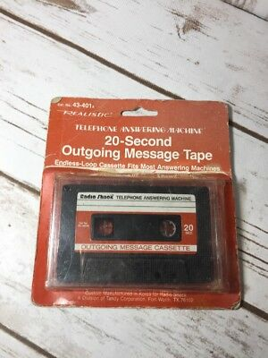 20 Second Endless-Loop Outgoing Message Tape 43-401A Radio Shack Cassette