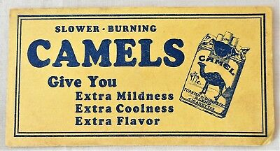 Vintage Camel Cigarettes Advertising Ink Blotter Slower Burning Extra Flavor