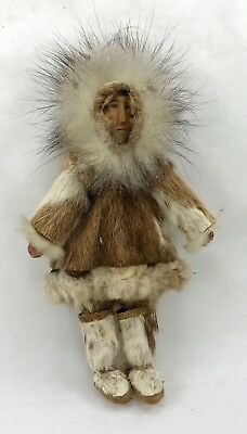Vintage Native Inuit Doll of Man in Authentic Dress w Fur Clothes Handmade