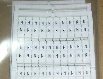 Wago, Terminal Block Markers, Letter N, 793-577, Pack Of 5 Cards