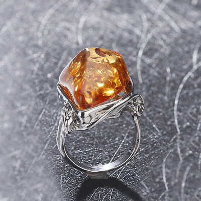 Antique Silver Ring Jewelry Size 10 Amber Colors Charms Gorgeous Vintage Baltic