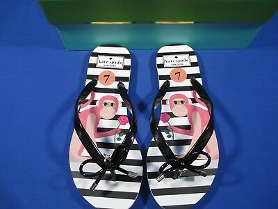 fa11319ee541 Kate Spade Nova Monkey Print Flip Flop Sandals Pink Black White Stripe 7   new