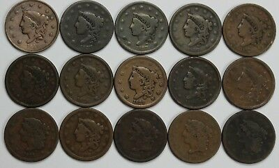 15x Large Cent Lot Young Head Mixed Date 1837 1838 1839 Old US Coin Coins NR P3R