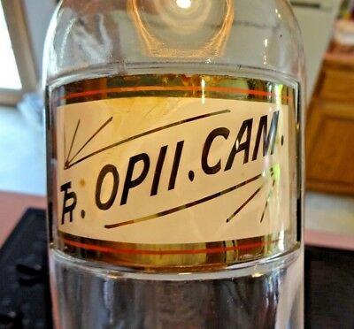 Vintage ** Apothecary Opium OPII CAMPH Glass Medicine Bottle ** Glass Label **