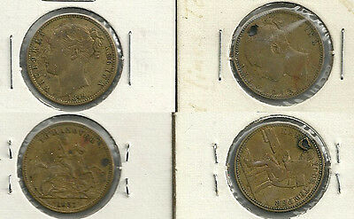 2 Different Great Britain Queen Victoria Gaming Tokens - 1837/1849