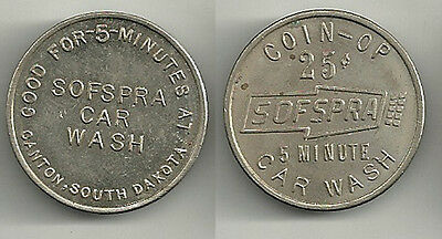 Canton, South Dakota Sofspra Car Wash Token SD1400A