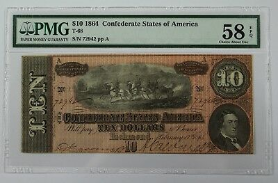1864 CSA Richmond VA $10 PMG Choice AU58 EPQ Civil War Era US Paper Currency 02