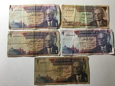 5 Old Tunisia Bank Notes