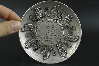 Old Collectibles Miao Silver Carving Chinese Famous 8 Immortal Rare Noble Plate