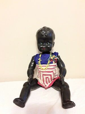 "Vintage Old Large 23"" Plastic Black African American Americana Baby Doll"
