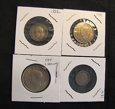 Lot of 4 Great Britain Silver Coins - 1931 Threepence, 1944 2 Shilling, 1922 6P