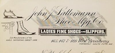 1898 Antique Invoice ~ John J. Lattemann Shoe Mfg. Co. ~ New York