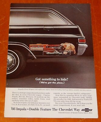 Black 1966 Chevy Impala Wagon Ad + United Airlines Ad On Back Vintage Retro 60S