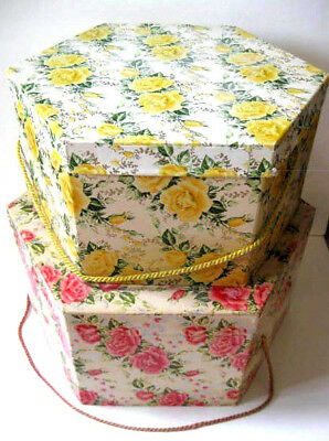 """2 Vintage 1950's Hat Boxes Pink & Yellow Rose Cardboard Hexagon Shape 14 & 16"""""""