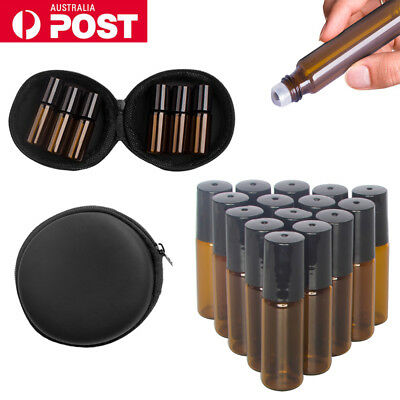 5-100 10ml Amber THICK Glass Roller Bottles Big Steel Roll on Ball Essential Oil