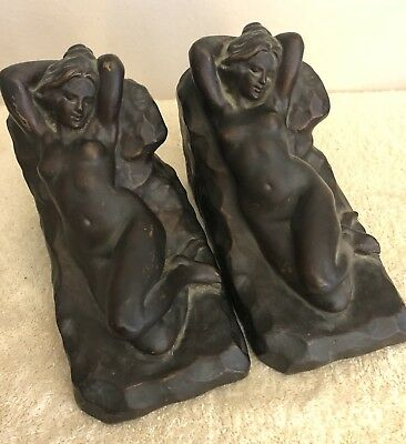 S. Morani Bronze Clad Nude Lady Bookends C-1914