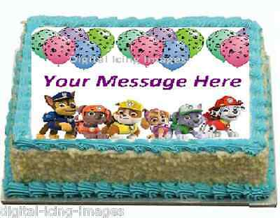 Cake Topper Edible Digital Image Icing Paw Patrol Birthday REAL FONDANT