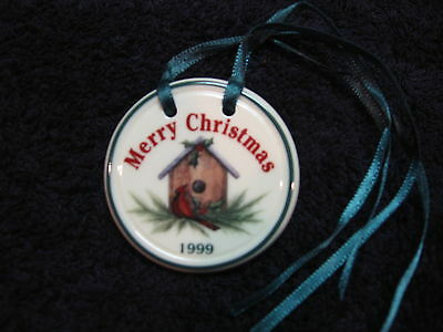 Longaberger birdhouse Christmas Tie-On Pottery 1999 Merry Rare *free shipping!*