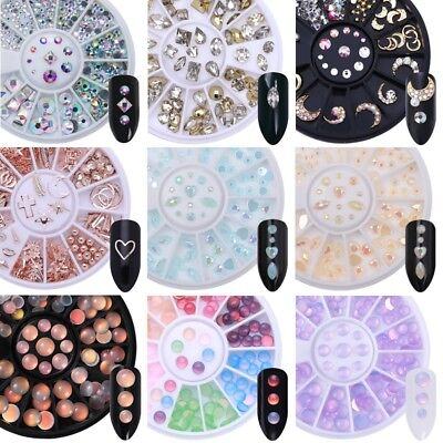 Flat Back Marquise Rhinestone Nail Art 3D Decoration in Wheel AB Color Stones