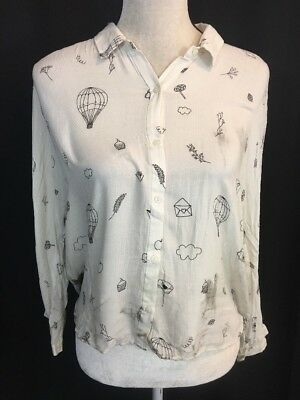 Zara Womens White Black Hot Air Balloon Flower Long Sleeve Button Down Top XL